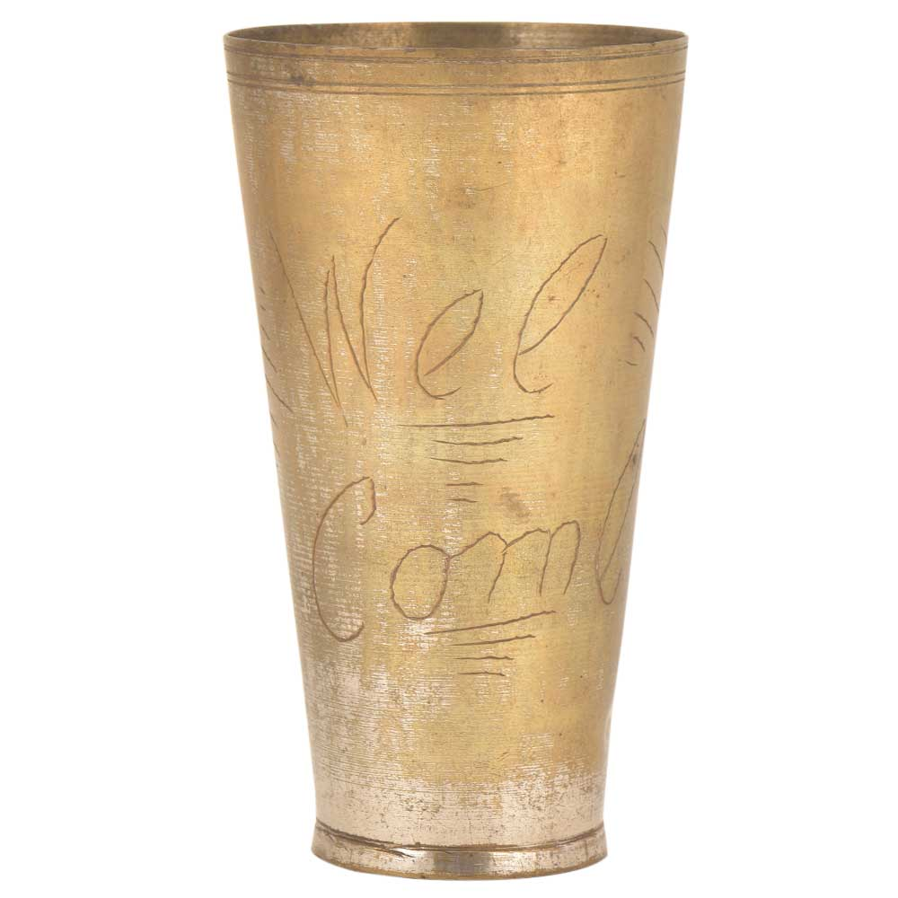 Welcome Engraved Punjabi Lassi Serving Glass