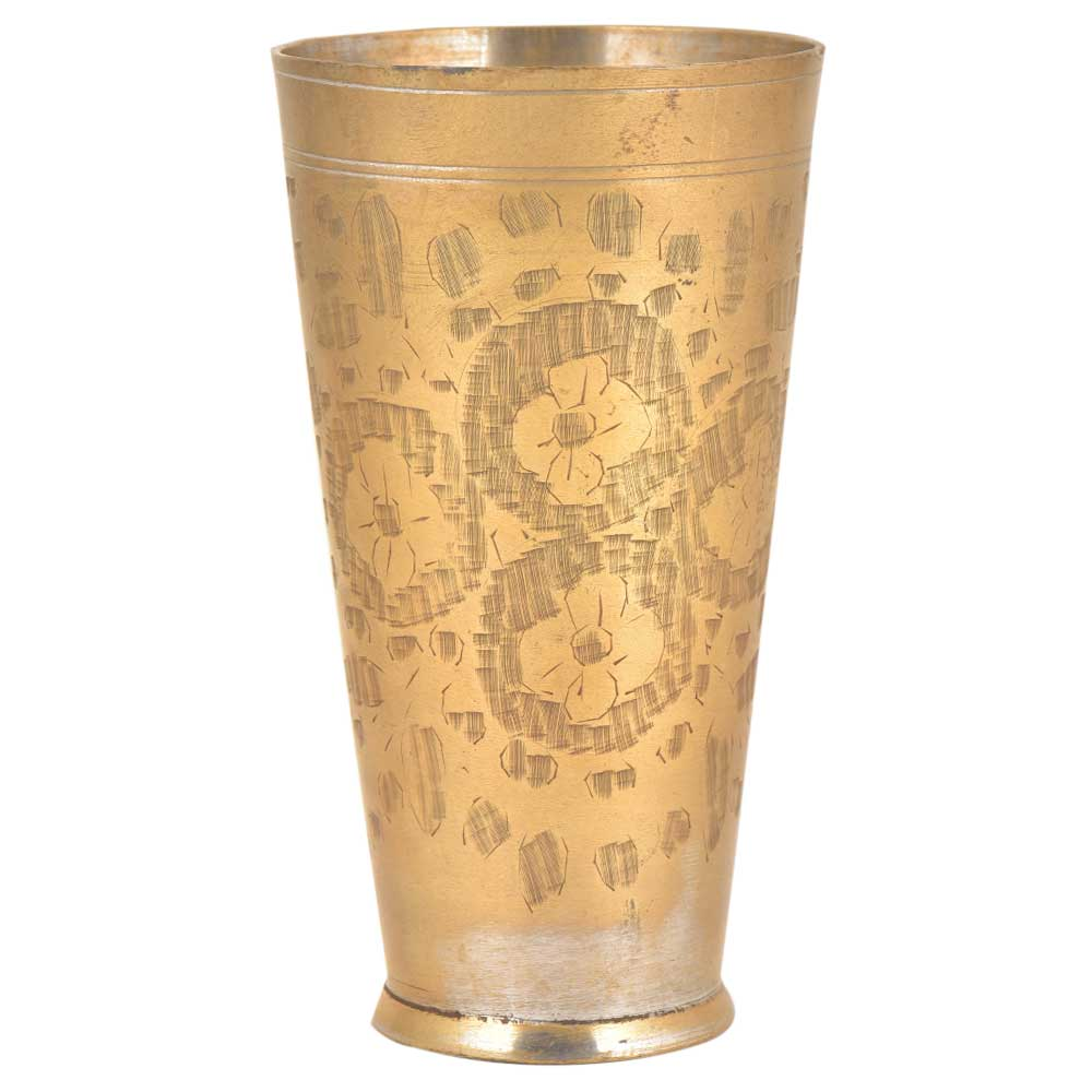 Four Flower Engraved Designer Brass Punjabi Glass