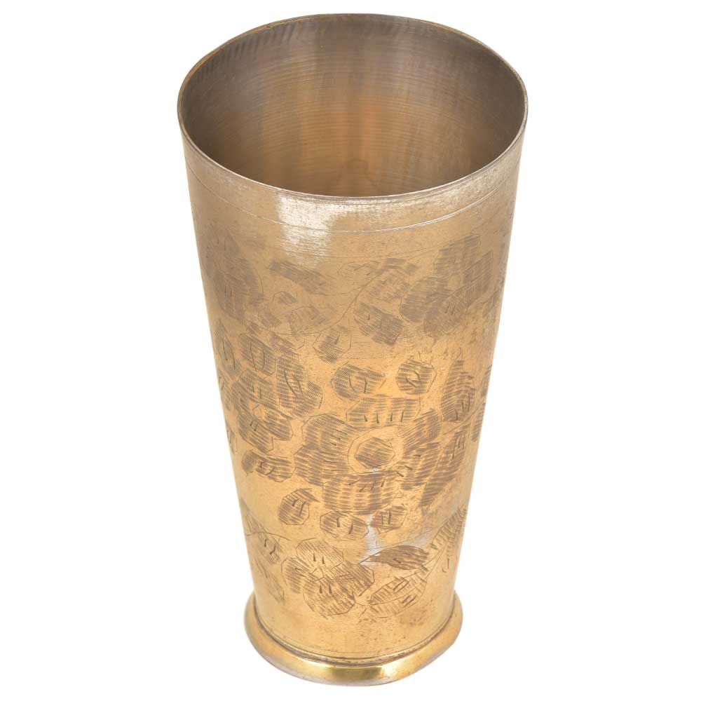 Tribal Flowers Etched Brass Talll Lassi Glass And Cup