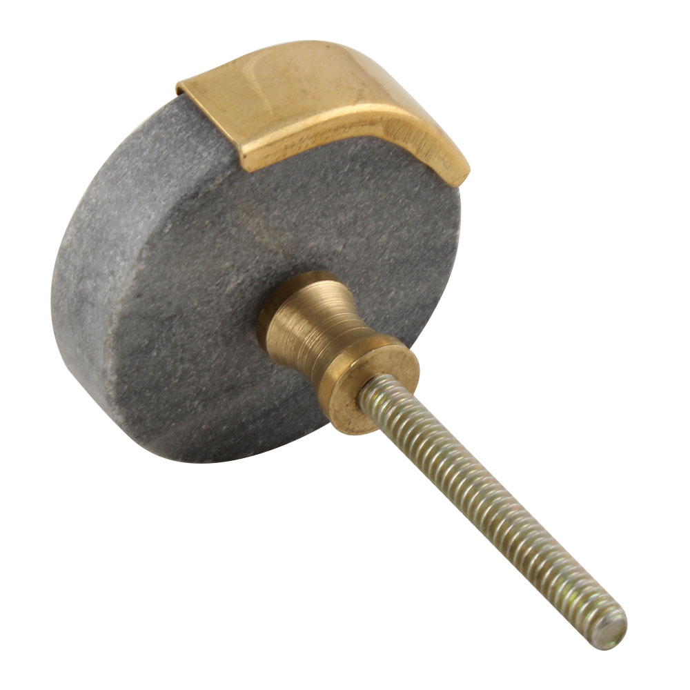 Grey Round Golden Stone Cabinet Knob