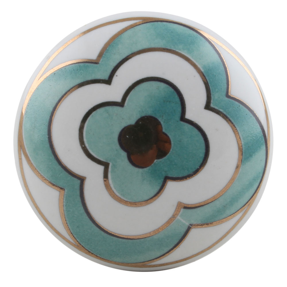 Sea Green Floral Golden Pattern Ceramic Cabinet Knobs Online