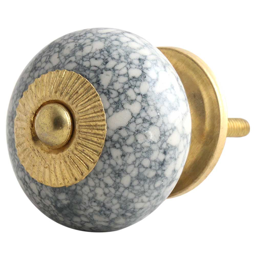 Black Marble Crackle Ceramic Drawer Knob