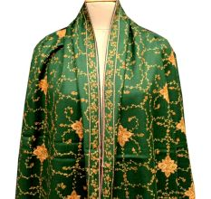 Handmade Dark Green Semi Pashmina Jaal Design Needle Work Shawl