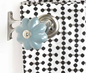 Ceramic Big Flower Shaped Sky Blue Curtain Rod Finial