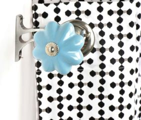 Ceramic Big Flower Shaped  Blue Curtain Rod Finial