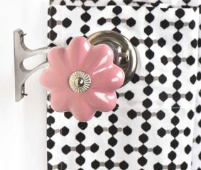 Ceramic Big Flower Shaped  Pink Curtain Rod Finial
