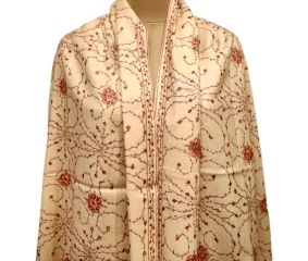 Handmade Cream Semi Pashmina Jaal Design Needle Work Shawl