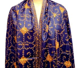 Handmade Purple Semi Pashmina Jaal Design Needle Work Shawl