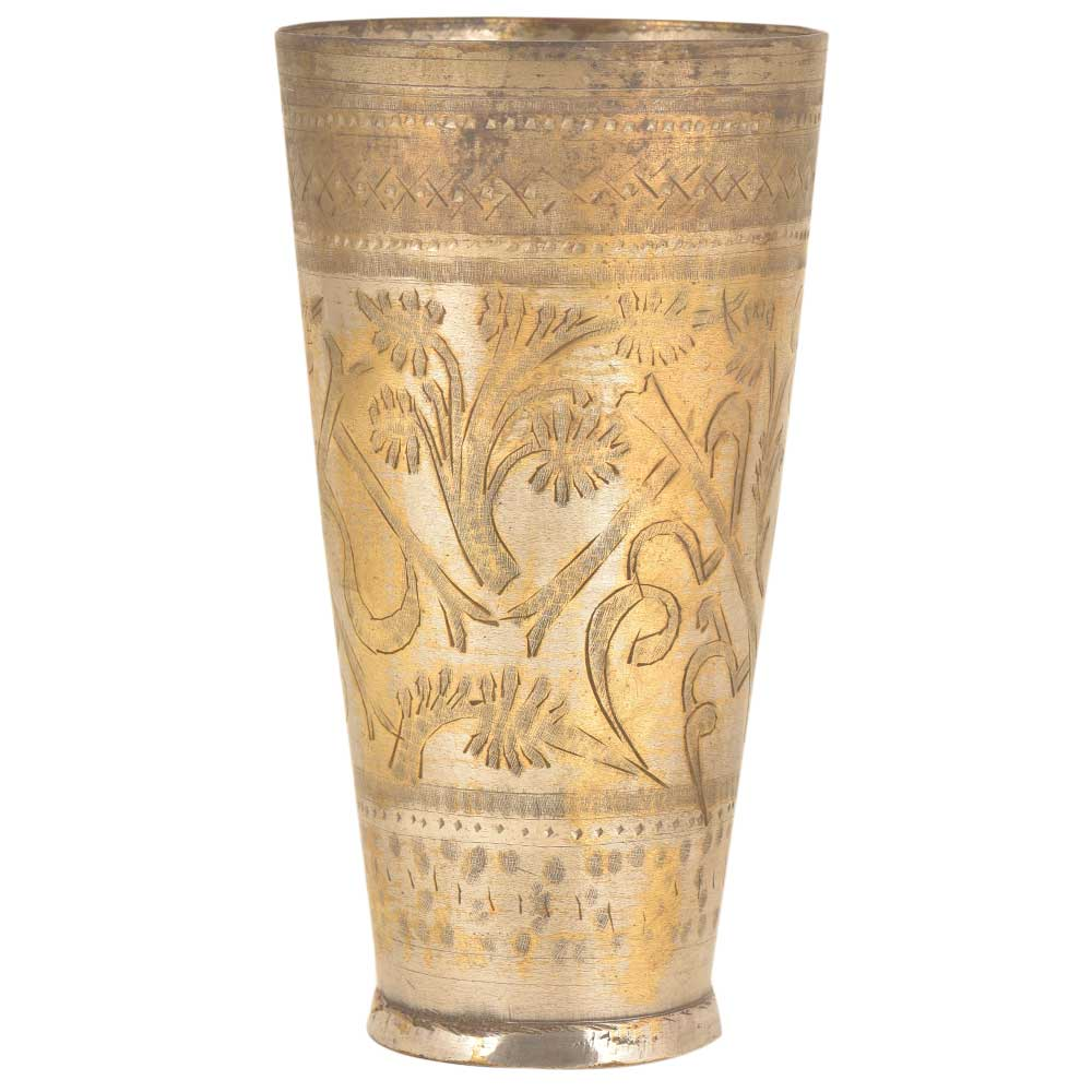 Jai Hind Etched Floral Brass Brass Tumbler Lassi Glass