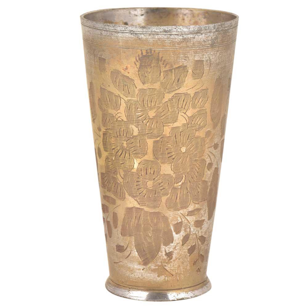Handmade Flowers Etched Brass Punjabi Glass