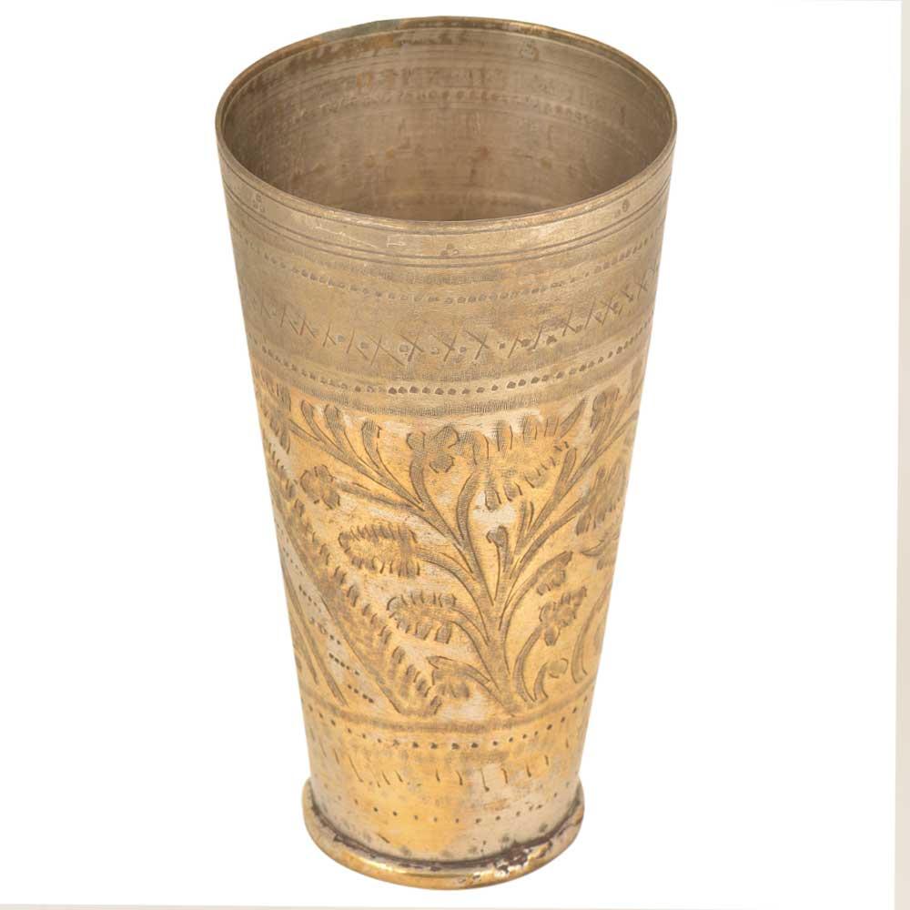 Hand Carved Floral Carved Punjabi Brass Lassi Glass