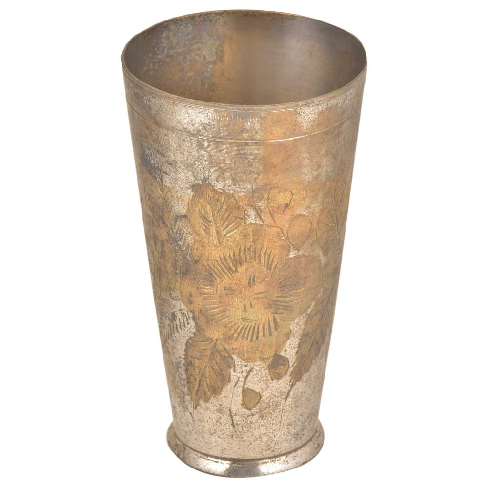 Big Flower With Leaves Etched Brass North Indian Serving  Glass