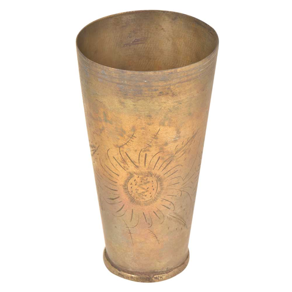 Old Sunflower Etched Brass Tumbler lassi Glass