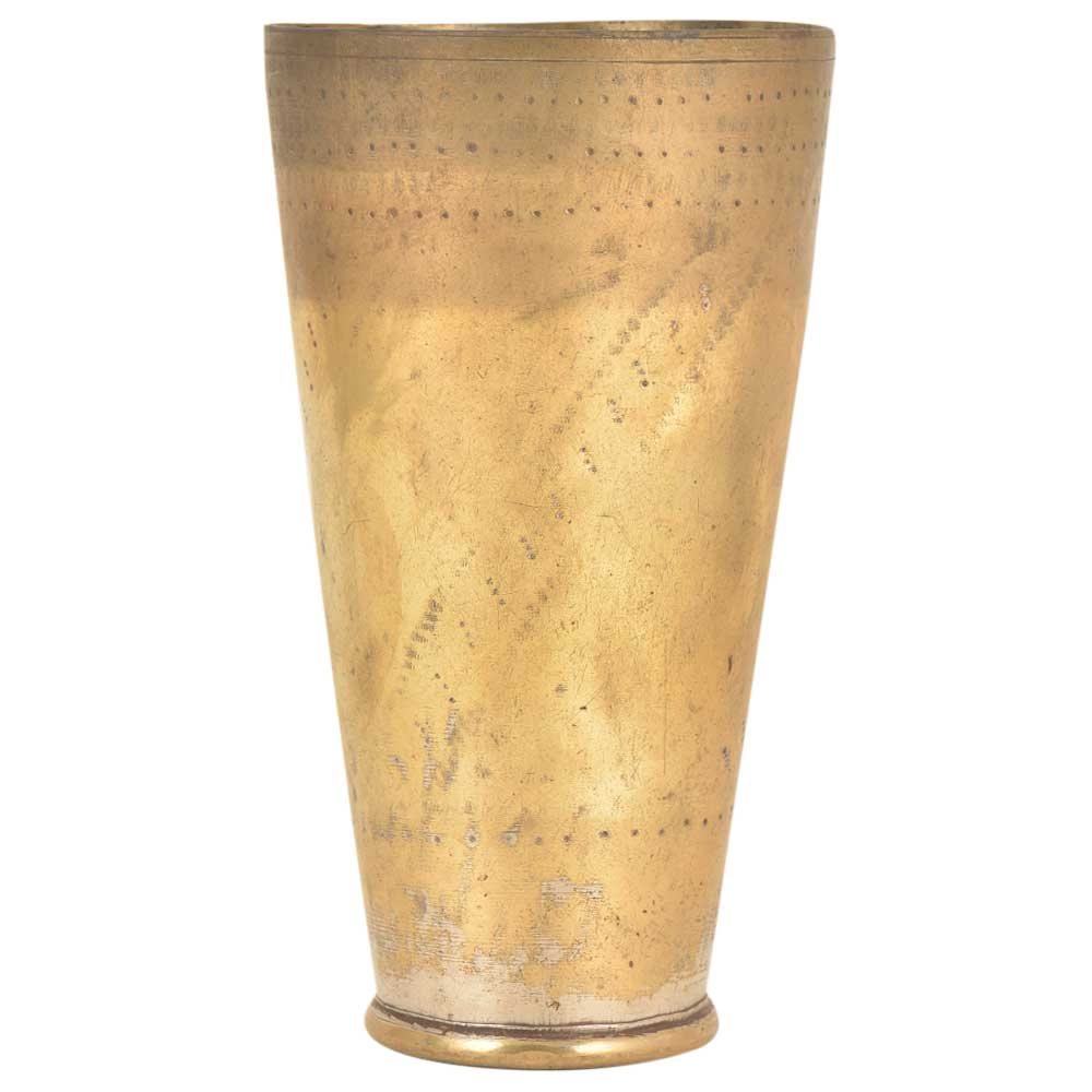 Old Hand Carved Brass Lassi Glass Brass Tumbler