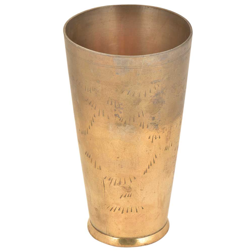 Old hand Engraved Abstract Pattern Brass Punjabi Glass