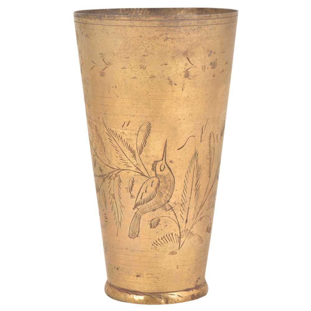 Vintage Bird Etched With Forest Scene Brass Punjabi lassi Glass