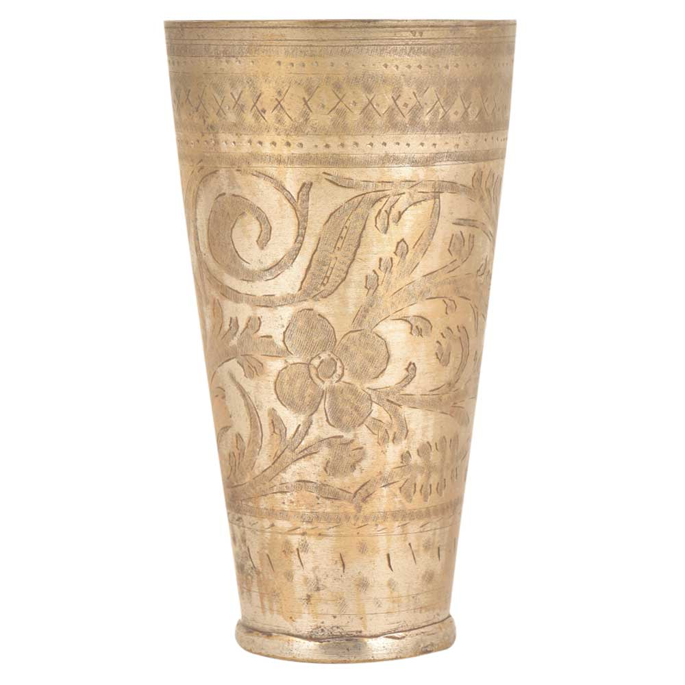 Brass Etched Lassi Glass With Flowers And Leaves