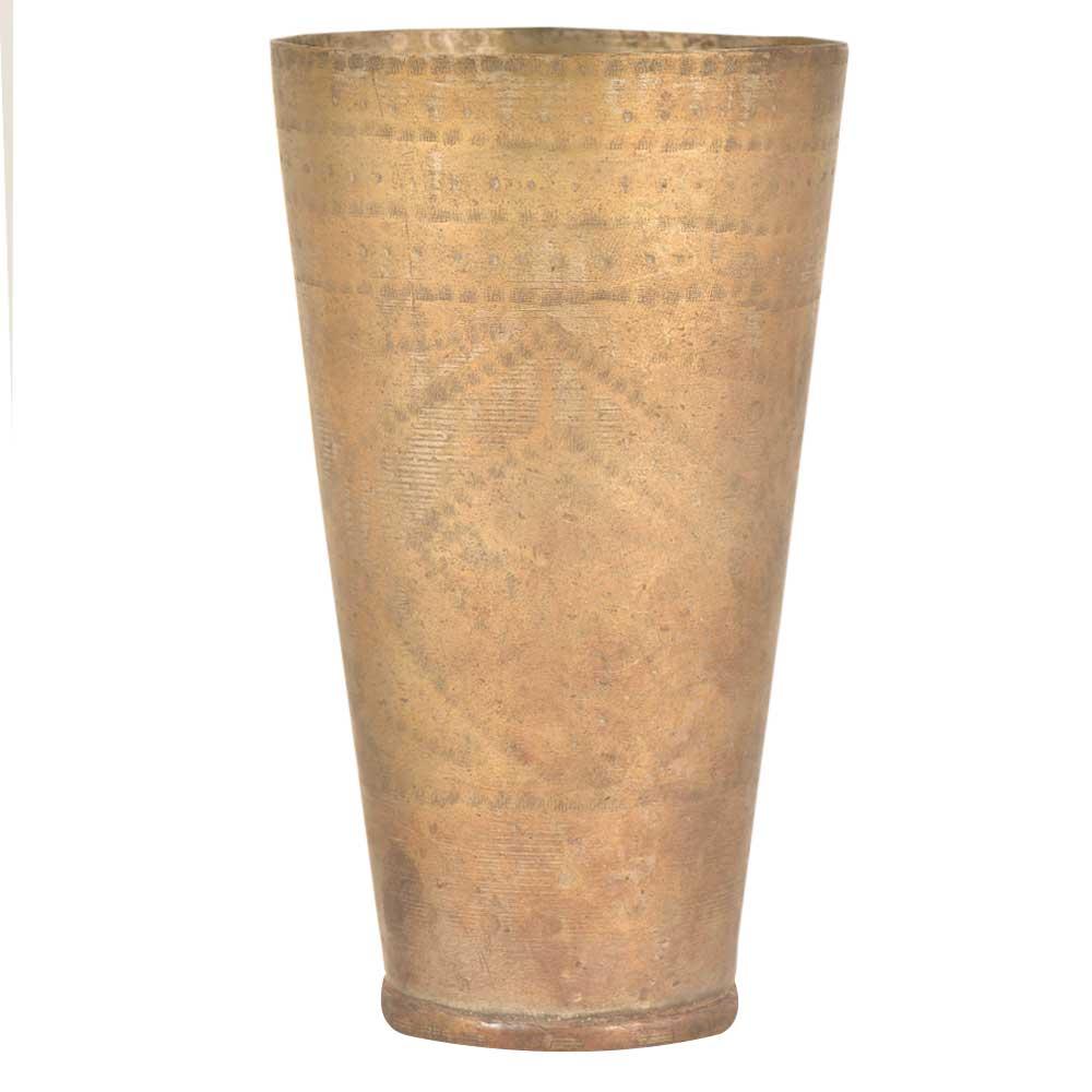 Faded Rustic Triangular Dotted Design Brass Punjabi Glass