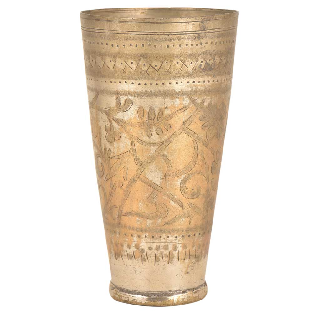 Foral Jai Hind Engraved Brass Vintage Style North Indian Glass