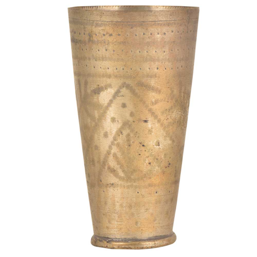 Faded Triangular Leafy Design Old Brass Punjabi Glass