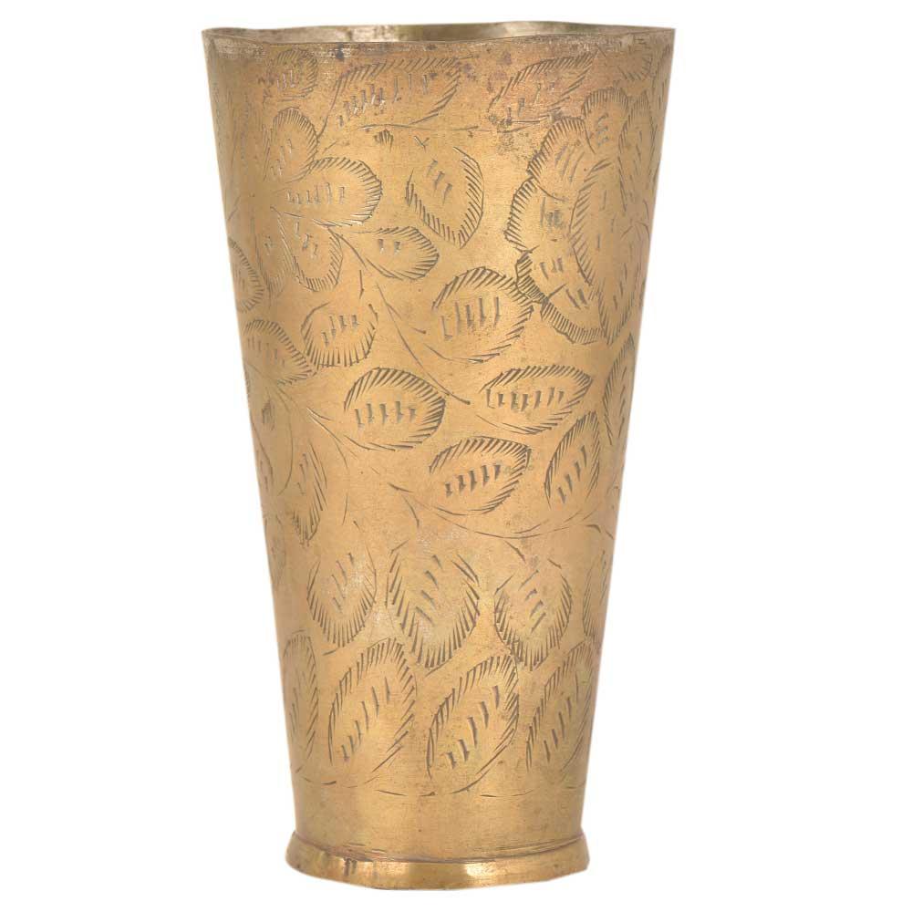 Brass Embossed Leaves Design Lassi Glass Tumbler