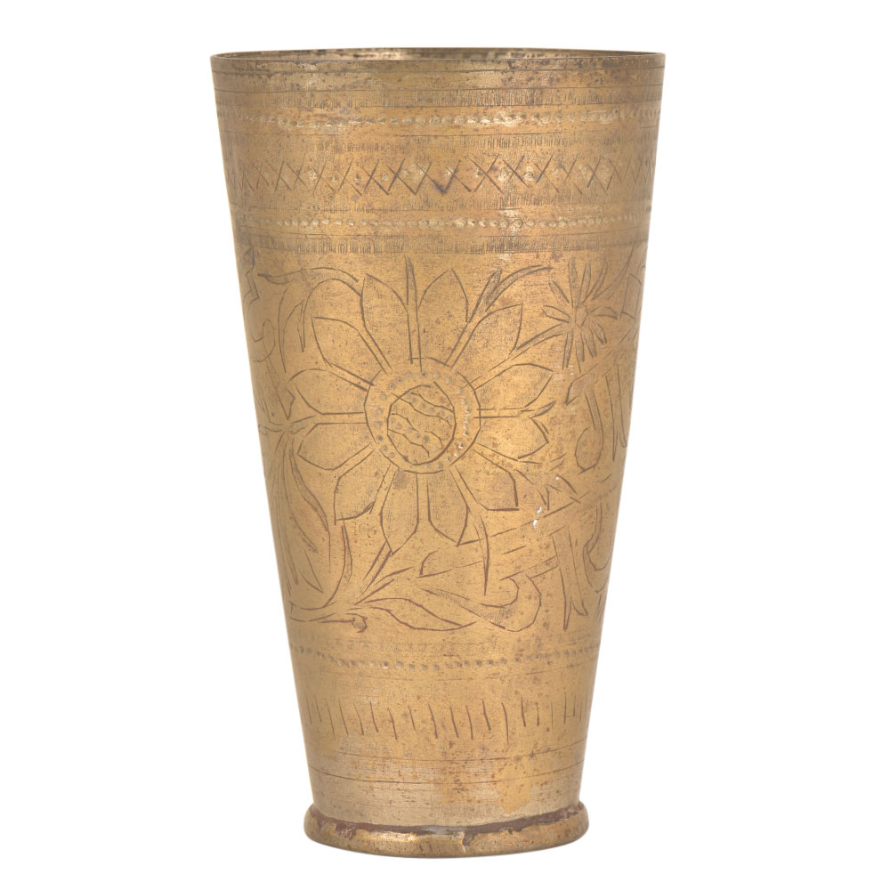 Tall Jai Hind Vintage Brass Lassi Glasses with Floral Engravings