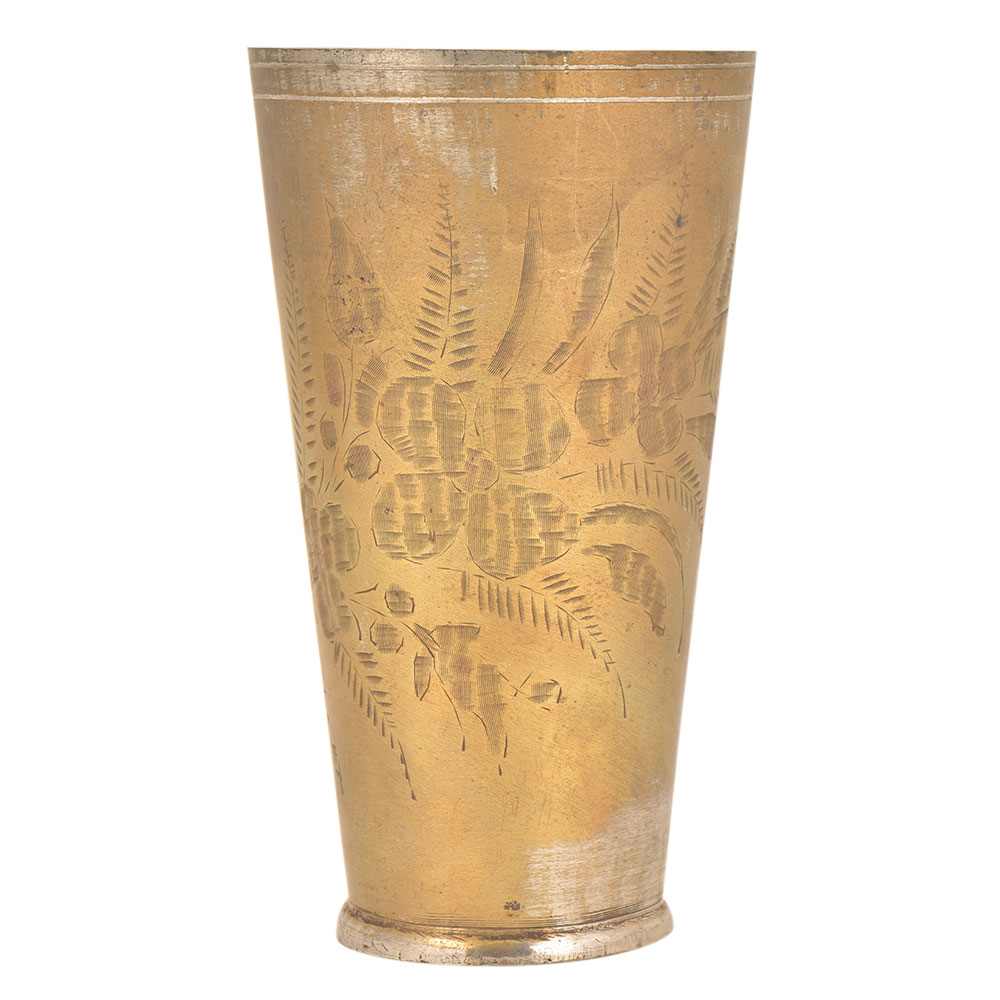 Old lassi Glass Hand Etched With Elaborate Flowers And leaves