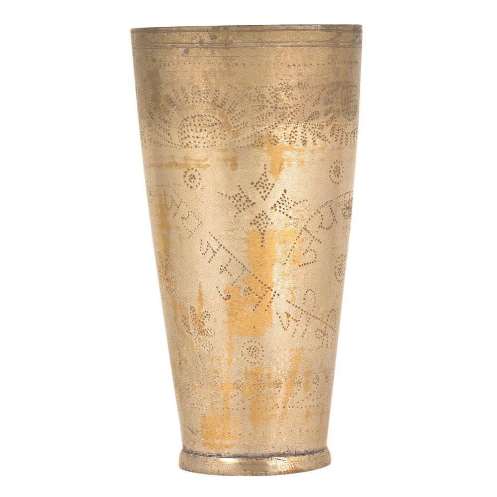 Jai Jamuna Ji Ki Engraved Floral Brass Punjabi Glass