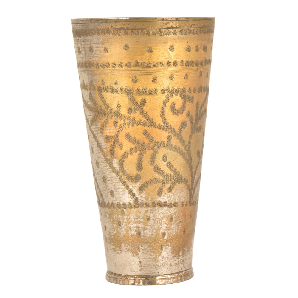 Tall Hand Crafted Brass Glasses with Leafy Design