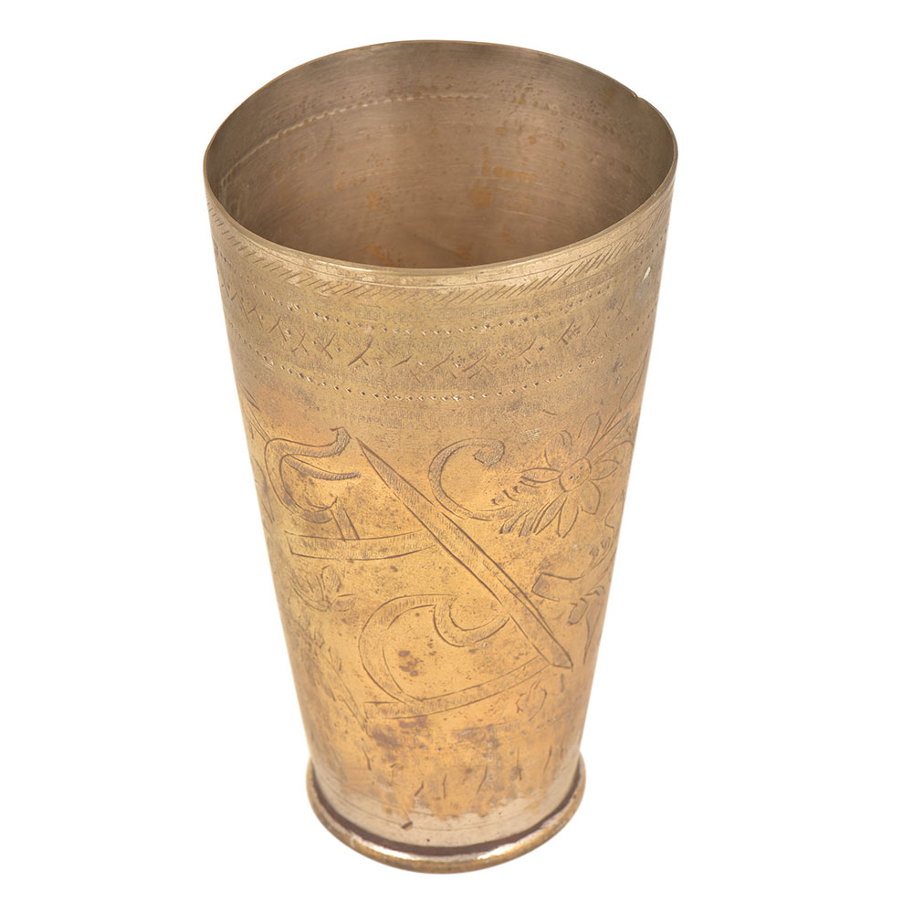 Jai Hind Engraved Floral Brass Tall Lassi Glass