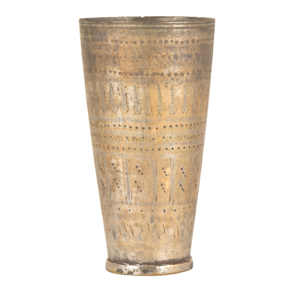 Old Brass Lassi Glass Etched With An Array Of Patterns
