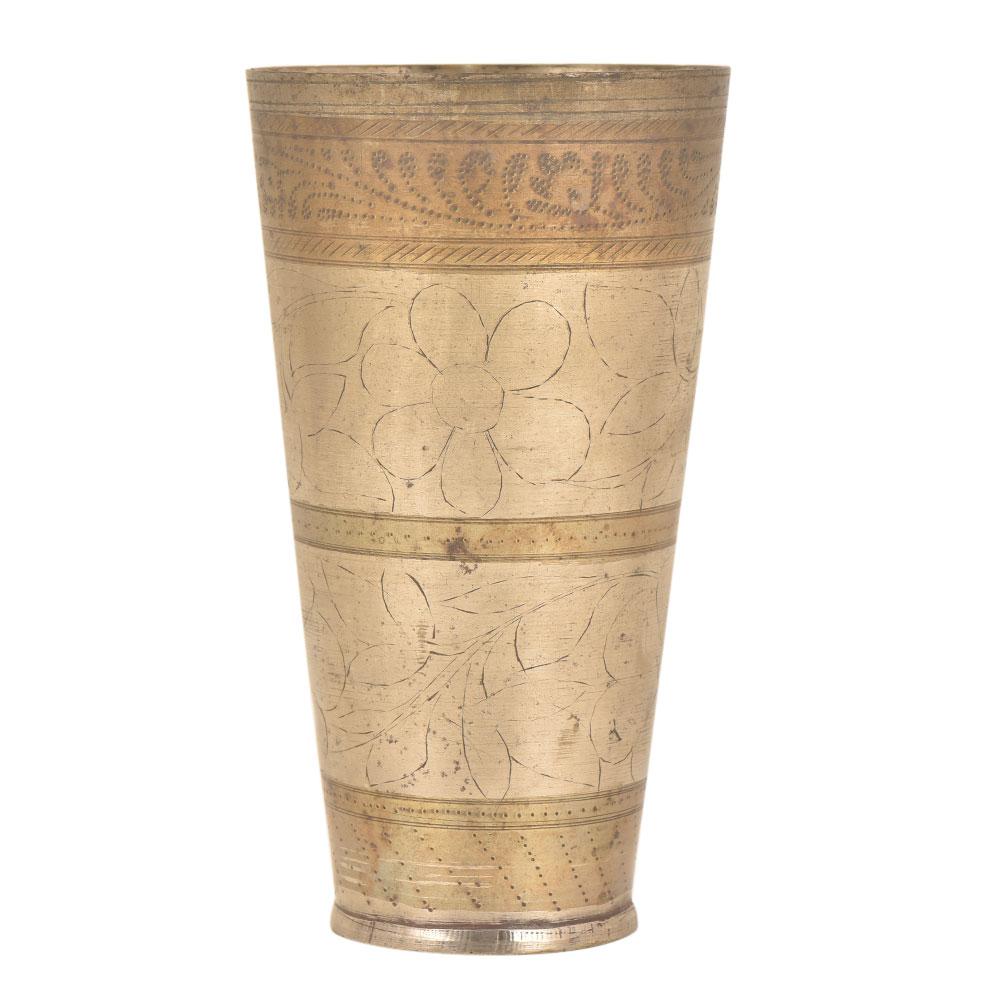Handmade Brass Unique Etched Punjanbi Lassi Glass
