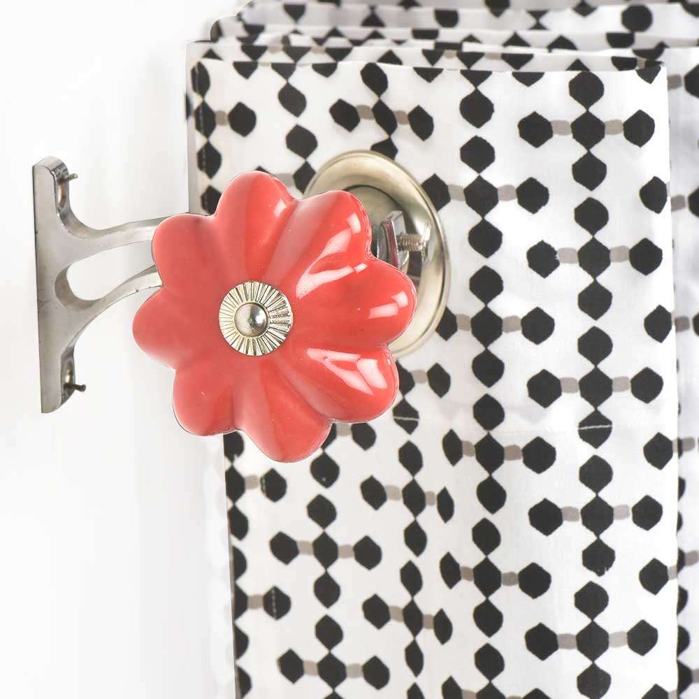 Ceramic Big Flower Shaped Red Curtain Rod Finial