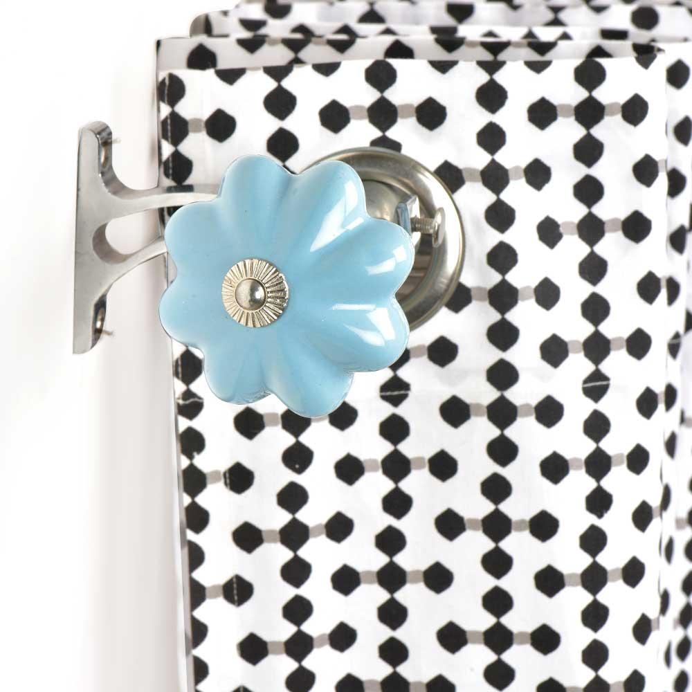 Ceramic Big Flower Shaped Blue Curtain Rod Finial