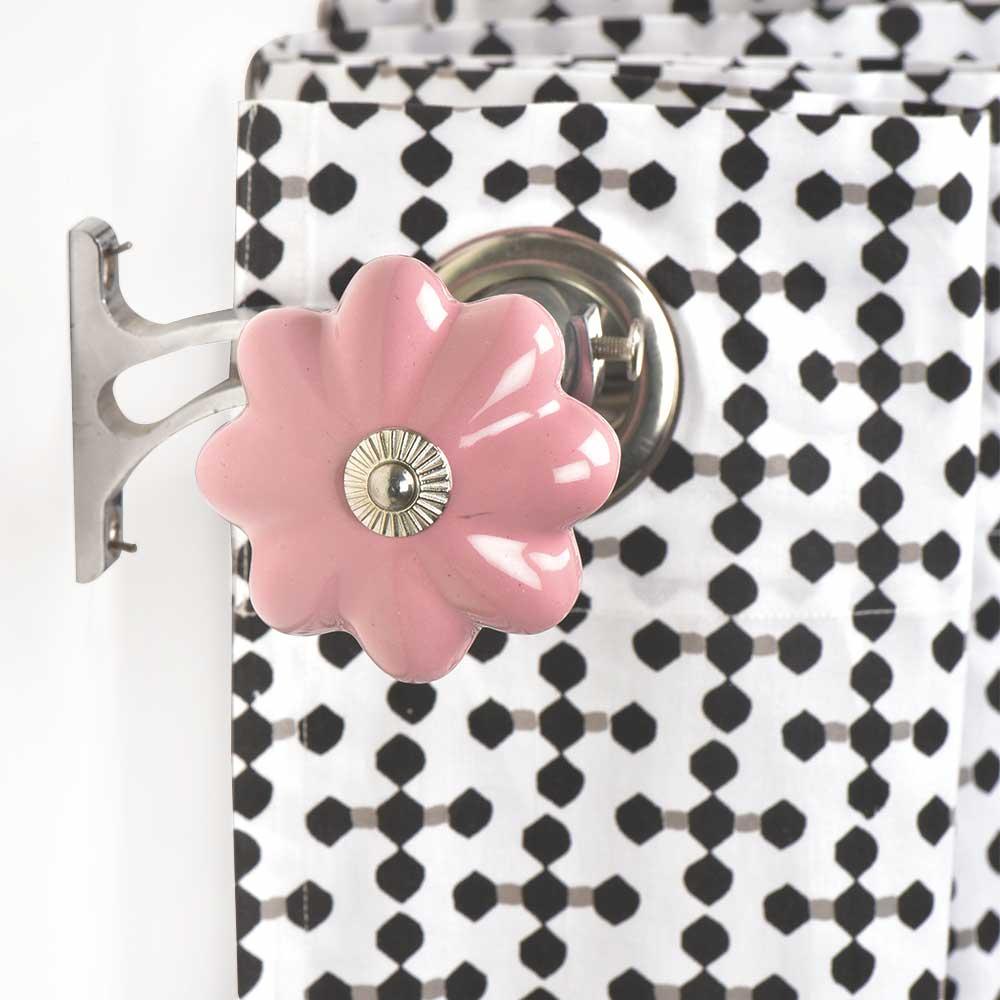 Ceramic Big Flower Shaped Pink Curtain Rod Finial