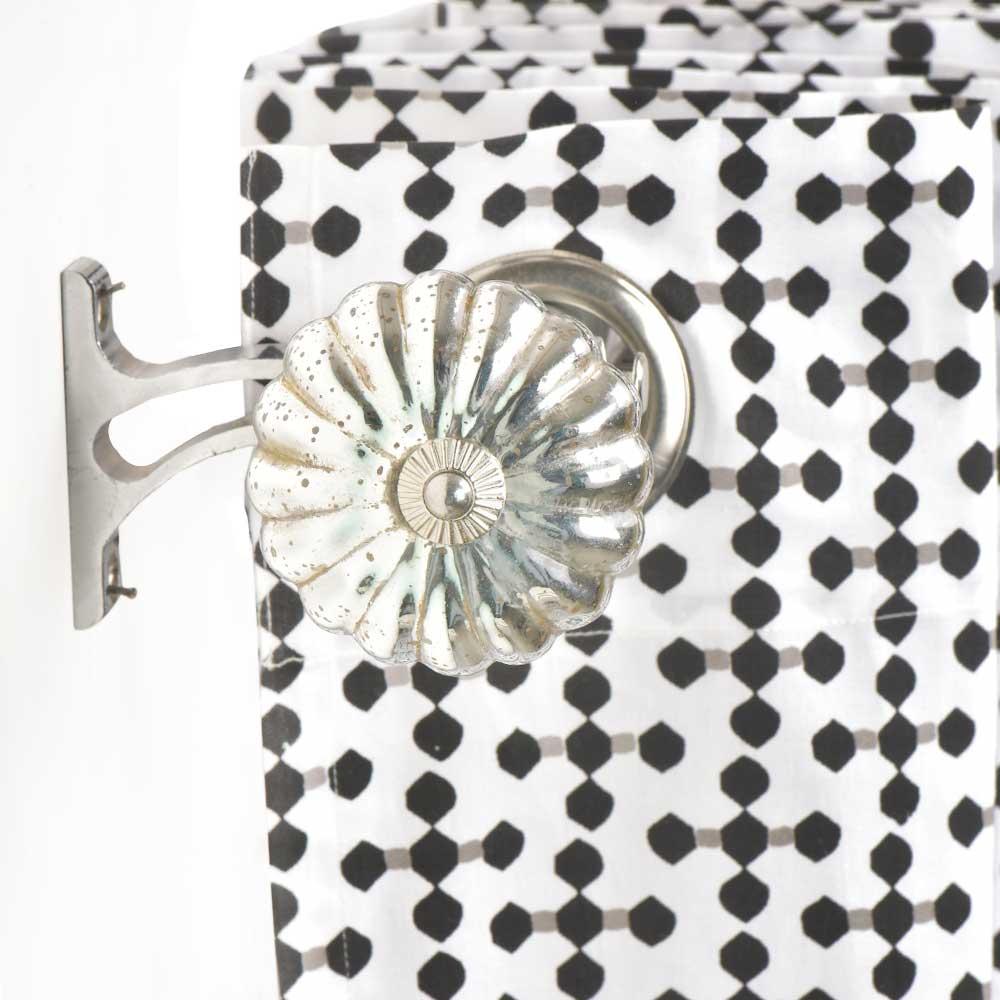 Antique Mercury Glass Big Flower Shaped Curtain Rod Finial