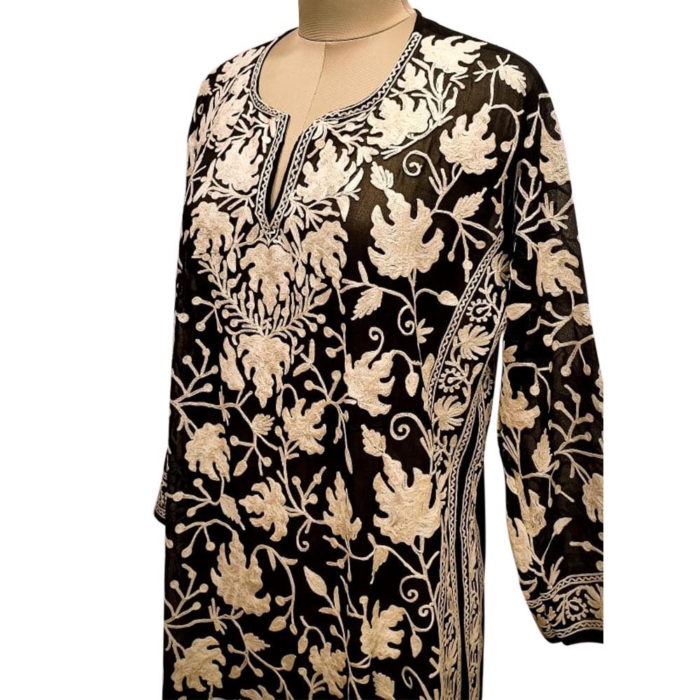 Embroidered Designer Black Color Long Kurti Fabric