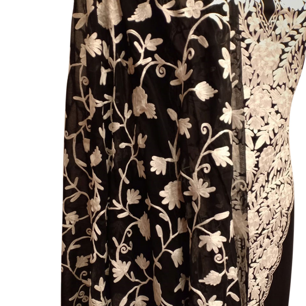 Black Designer Dress Fabric Georgette With Front White Floral Embroidery