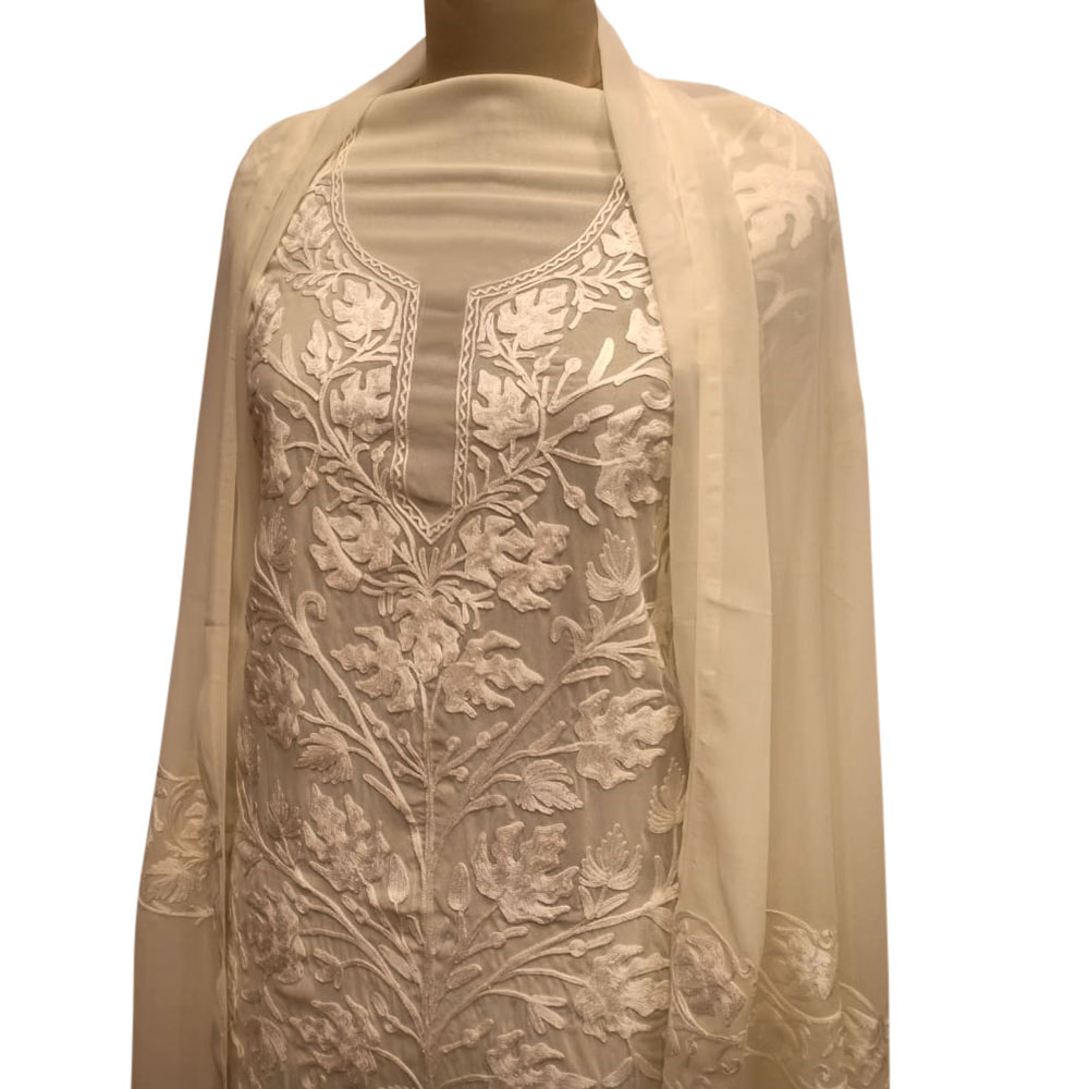 White Floral Dress Fabric Georgette With Matching Dupata