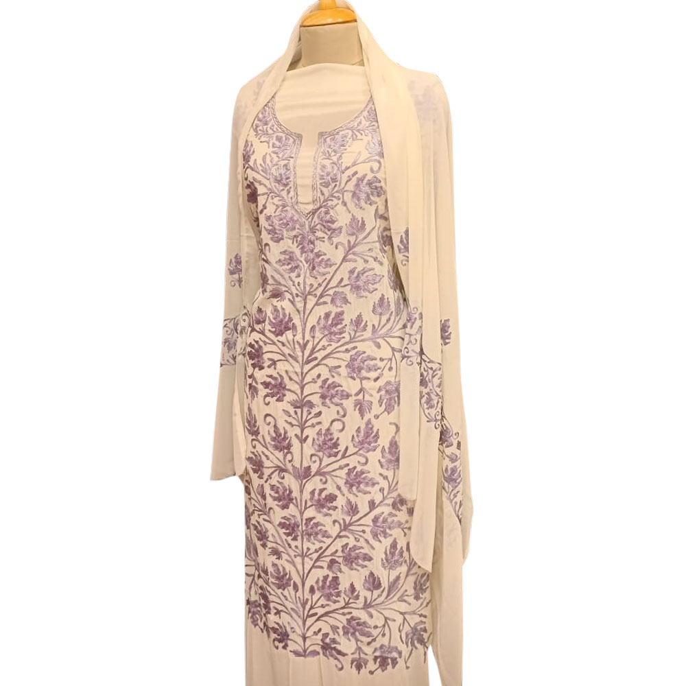 Purple Floral Embroidery Dress Fabric Georgette With Matching Dupata