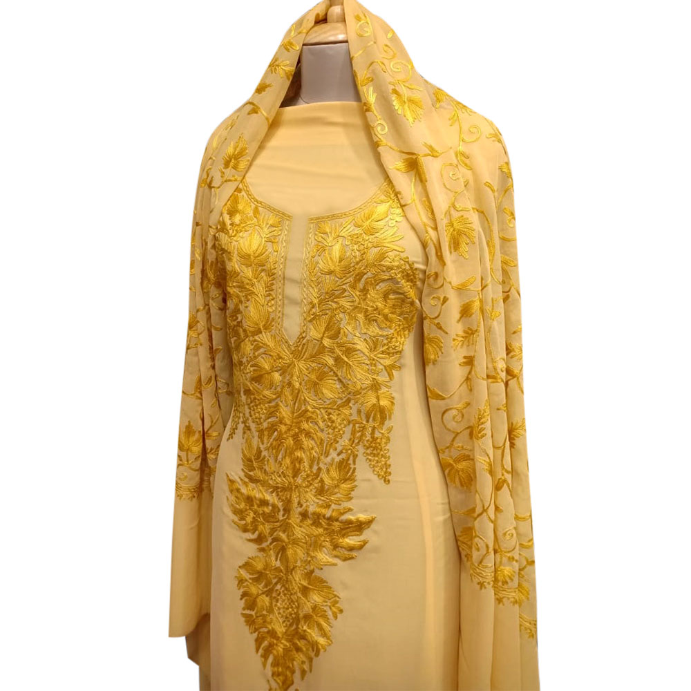Golden Yellow Delight Floral Dress Fabric Georgette With Matching Dupata