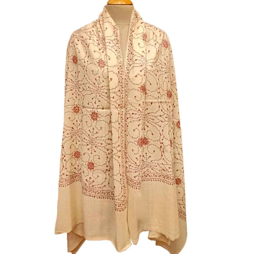 Handmade Cream Semi Pashmina Jaal Design Needle Work Shawl