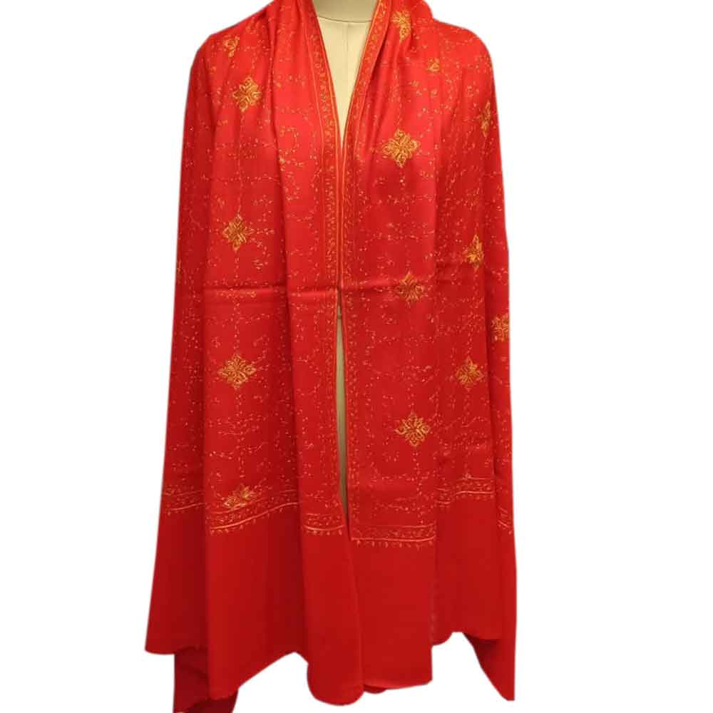 Handmade Red Semi Pashmina Jaal Design Needle Work Shawl