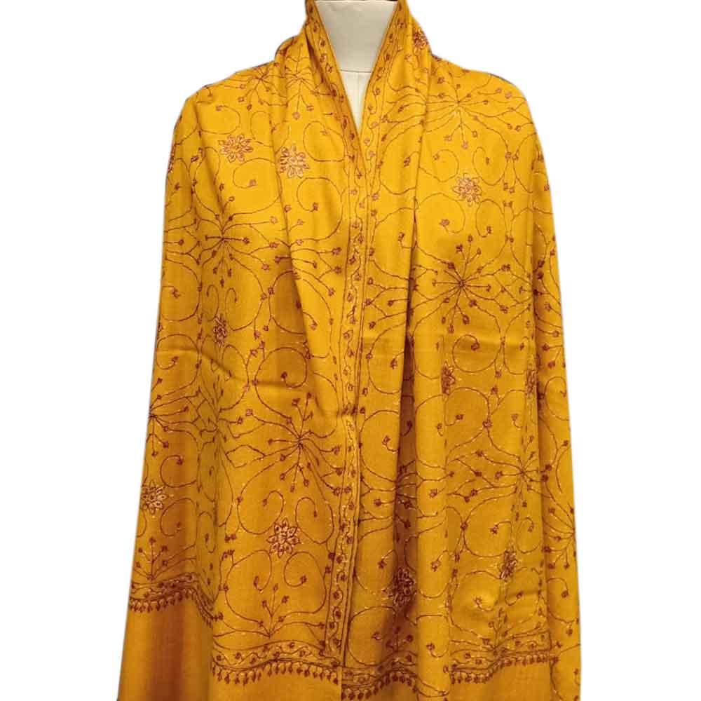 Handmade Mustard Semi Pashmina Jaal Design Needle Work Shawl