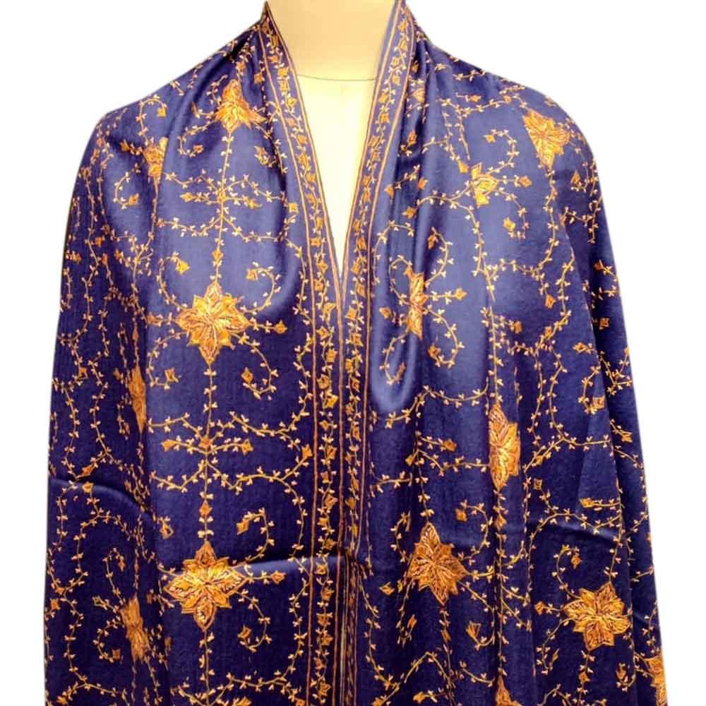Handmade Purple Semi Pashmina Jaal Design Needle Work Shawl