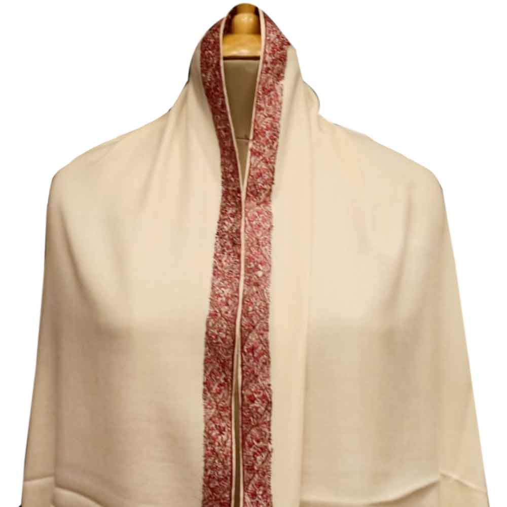 Handmade Cream Semi Pashmina Border Design Needle Work Shawl