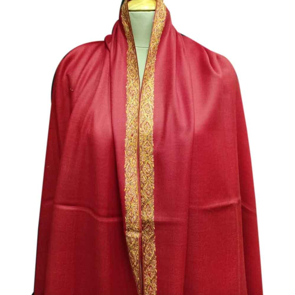 Handmade Semi Pashmina Blood Red Border Embroidery  Design Needle Work Shawl