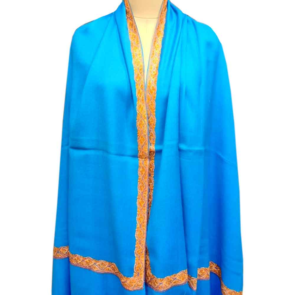 Blue Semi Pashmina  Border Embroidery  Design Needle Work Shawl