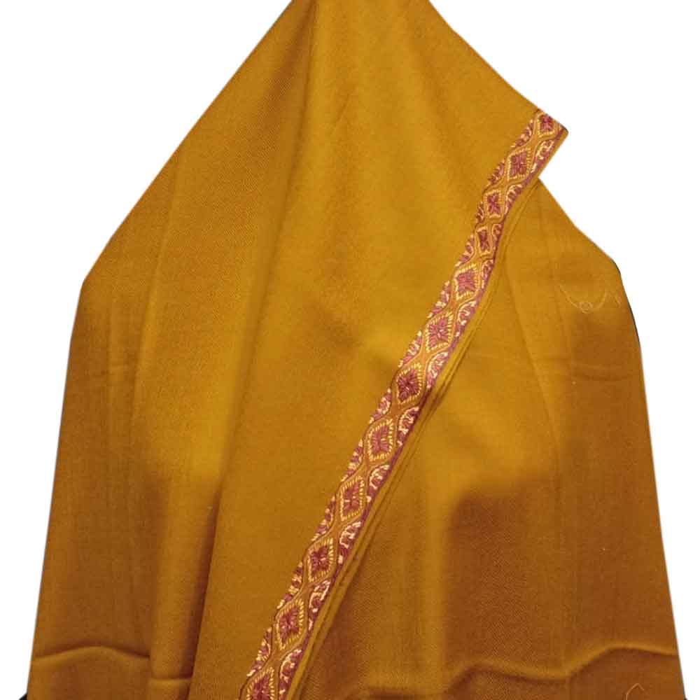 Mustard Semi Pashmina  Border Embroidery  Design Needle Work Shawl