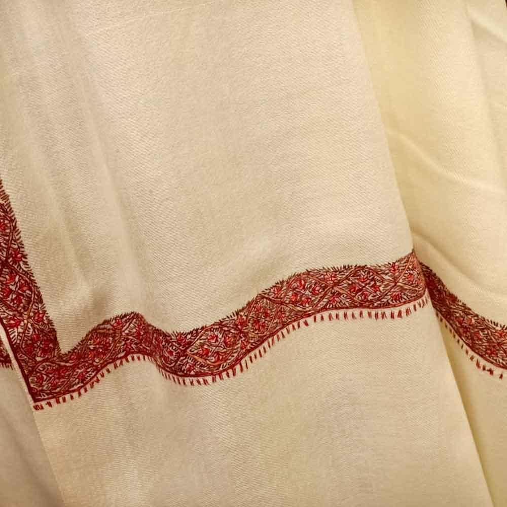 Handmade Cream Semi Pashmina Floral Border Design Needle Work Shawl